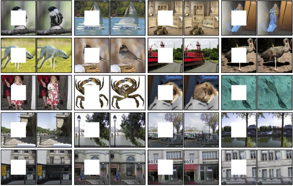 Image Inpainting (hole filling) using Context Encoders