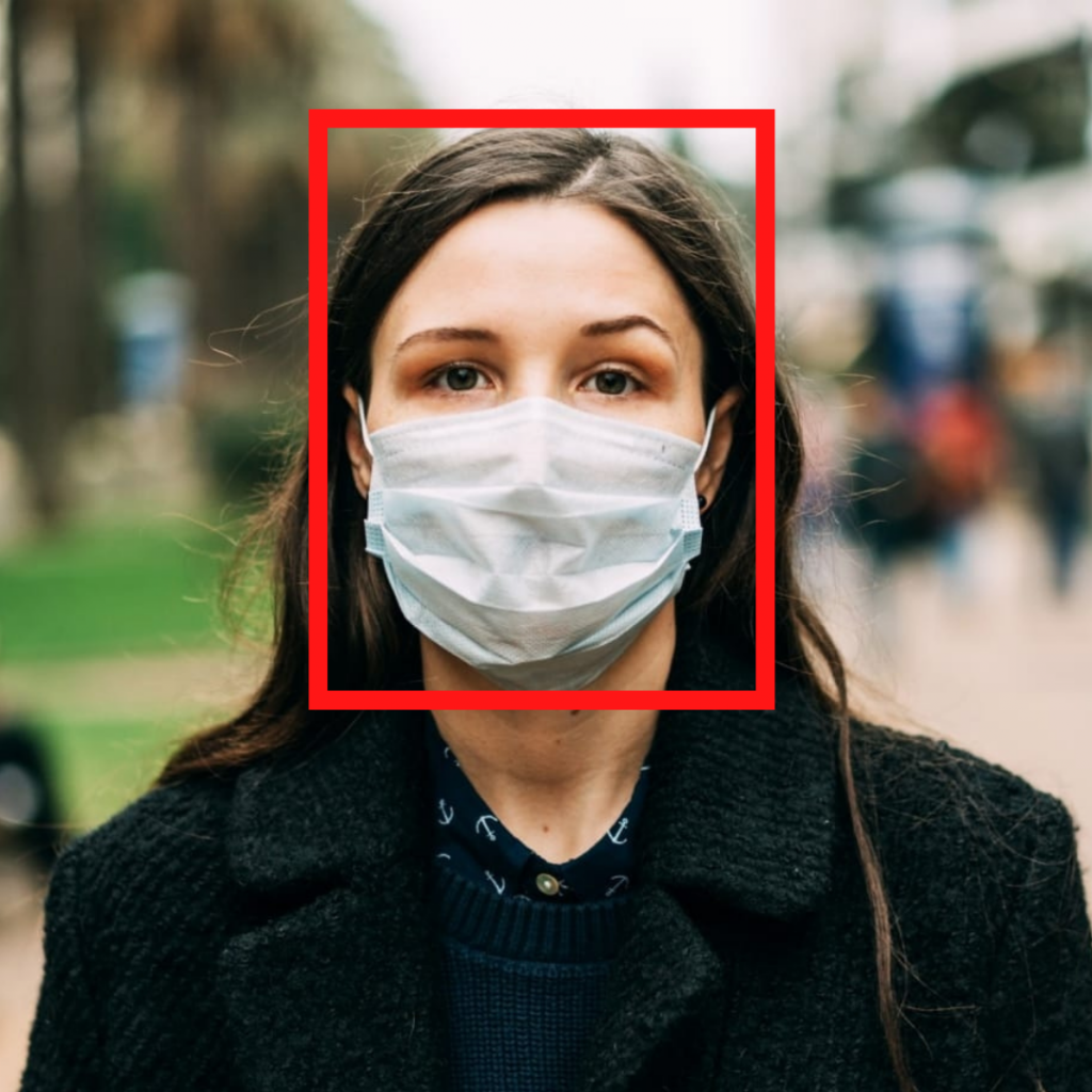Example image with bounding box - Face Mask Detection using Python