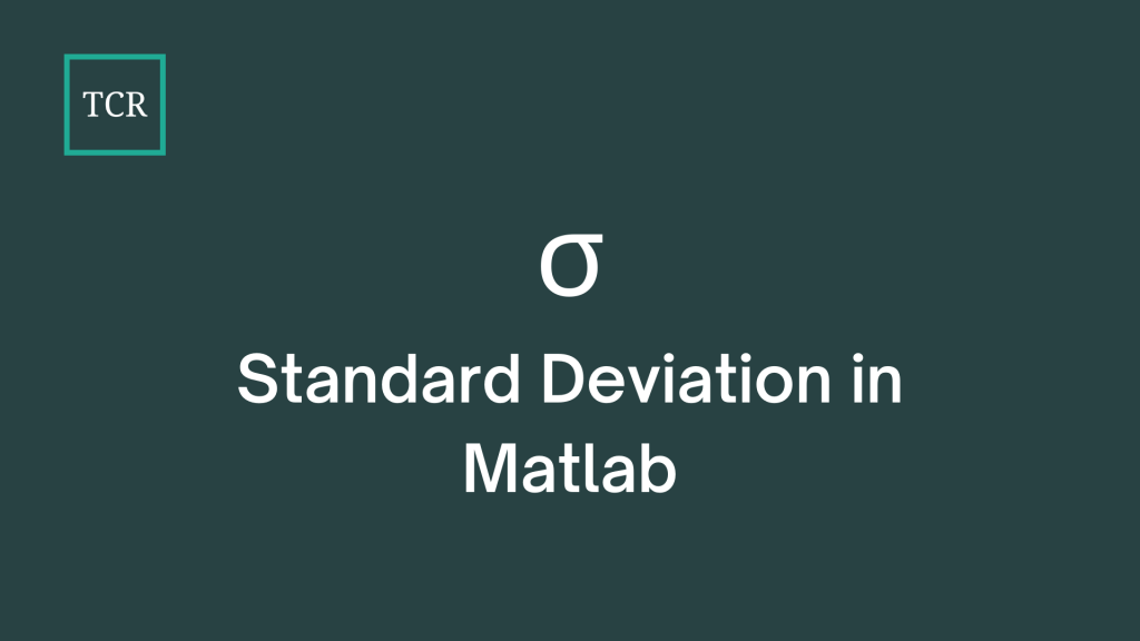 Standard Deviation in Matlab - Syntax and Example