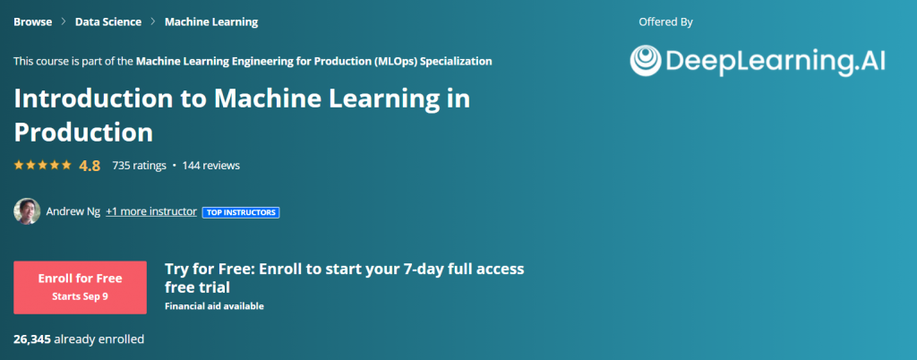 Introduction to Machine Learning in Production Course by Andrew Ng and DeepLearning.AI