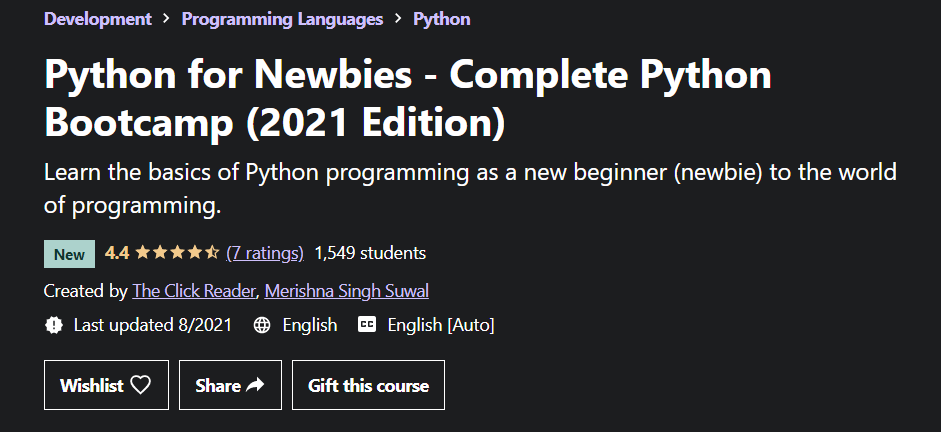 Python for Newbies - Complete Python Bootcamp by The Click Reader