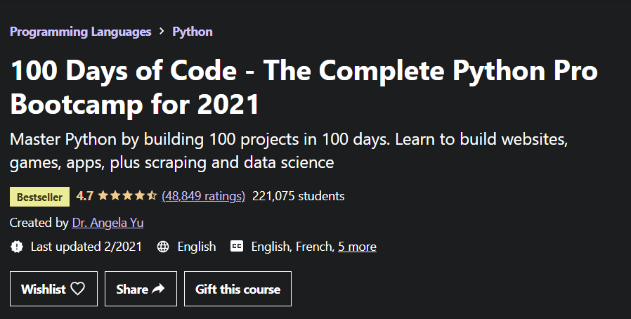 100 Days of Code - The Complete Python Pro Bootcamp by Dr. Angela Yu