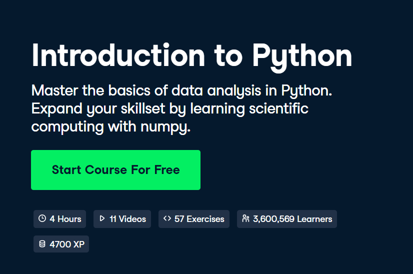 Introduction to Python by DataCamp