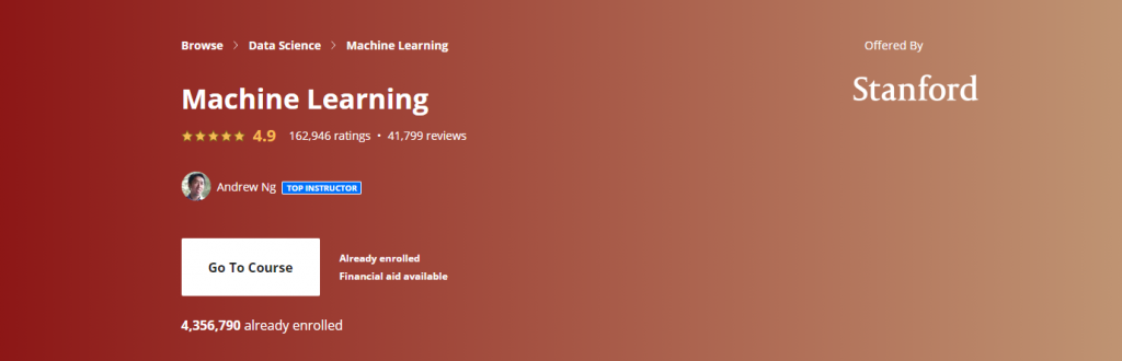 Machine Learning by Andrew Ng and Stanford