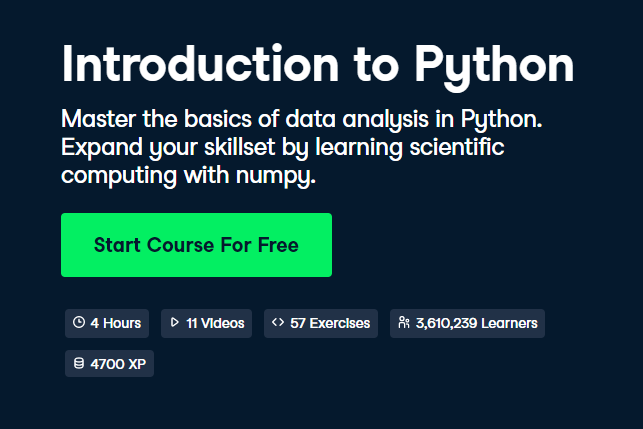 Introduction to Python DataCamp Free Course - Top 8 DataCamp Free Courses