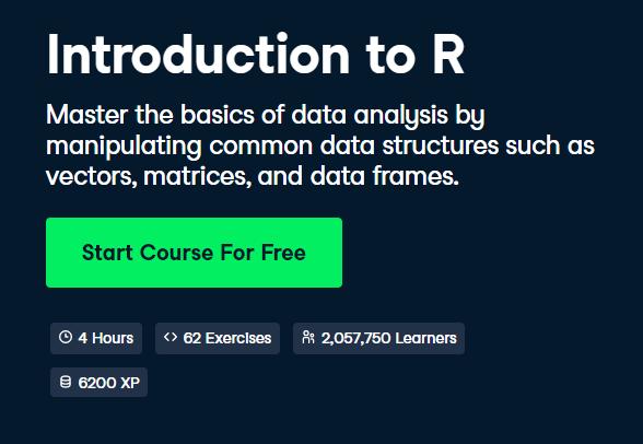 Introduction to R DataCamp Free Course - Top 8 DataCamp Free Courses