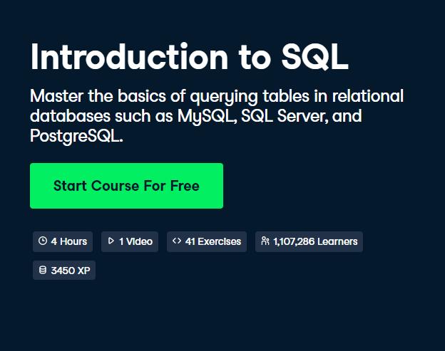 Introduction to SQL DataCamp Free Course - Top 8 DataCamp Free Courses