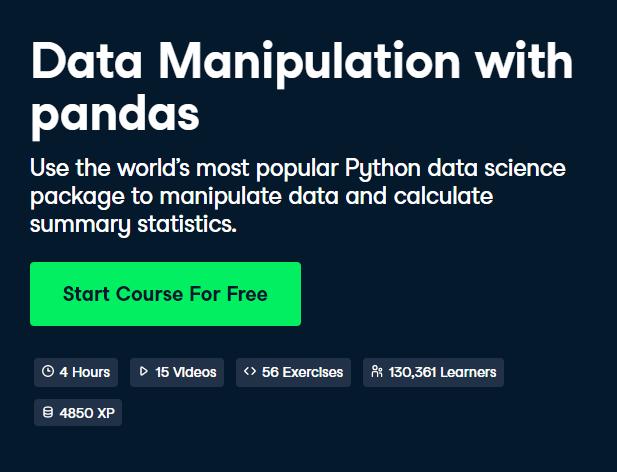 Data Manipulation with pandas DataCamp Free Course - Top 8 DataCamp Free Courses