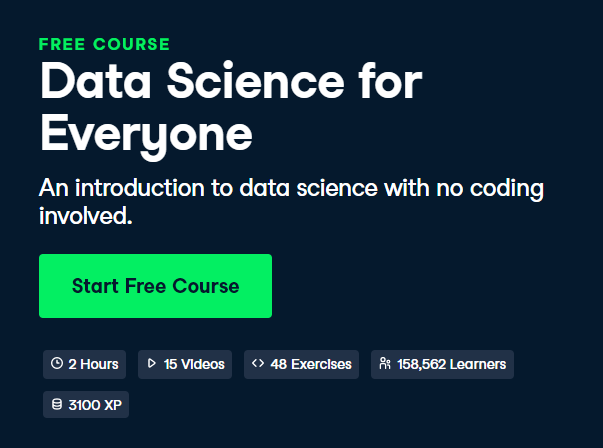 Data Science for Everyone DataCamp Free Course - Top 8 DataCamp Free Courses