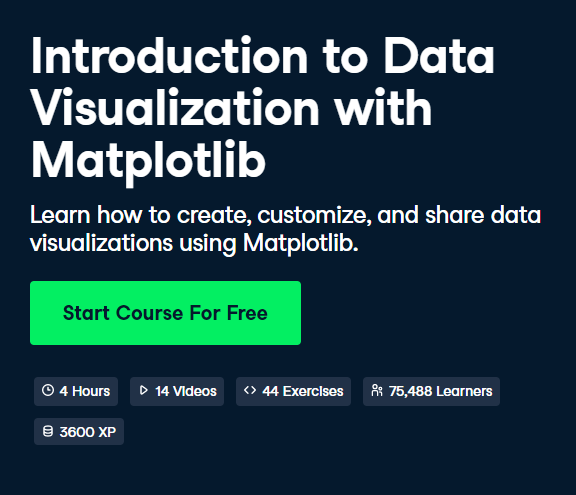 Introduction to Data Visualization with Matplotlib DataCamp Free Course - Top 8 DataCamp Free Courses