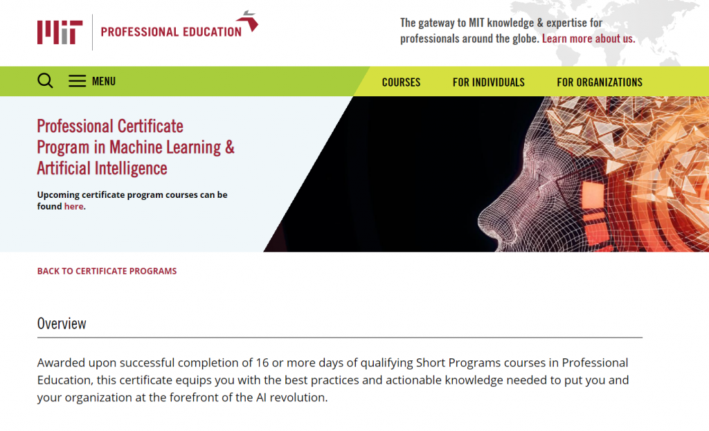 Professional Certificate Program in Machine Learning & Artificial Intelligence by MIT