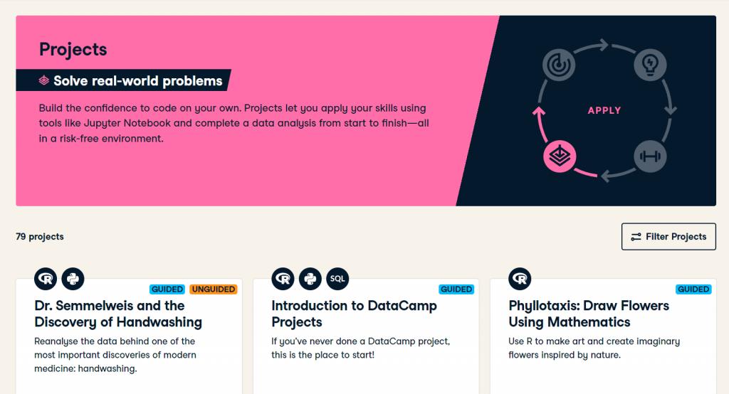 DataCamp Project Tutorials Home Page (DataCamp Review)