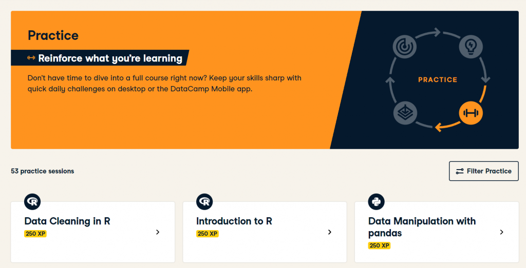DataCamp Practise Sessions Home Page (DataCamp Review)