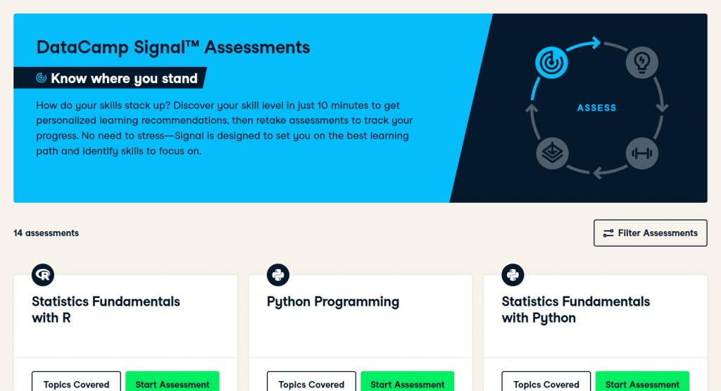 DataCamp Signal Assessments Home Page (DataCamp Review)