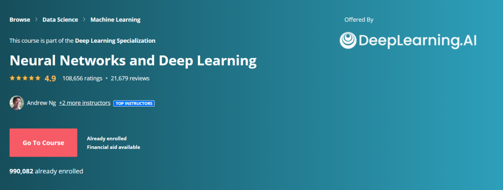 Neural Networks and Deep Learning Course by Andrew Ng and DeepLearning.AI
