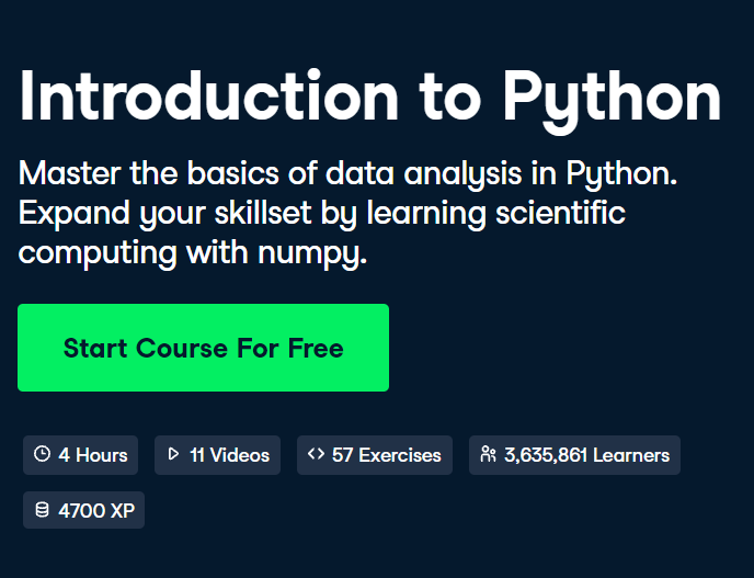 'Introduction to Python' Course by DataCamp - 5/5 stars - DataCamp Python Courses Review