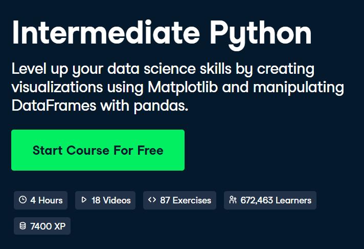 'Intermediate Python' Course by DataCamp - 4.5/5 stars - DataCamp Python Courses Review