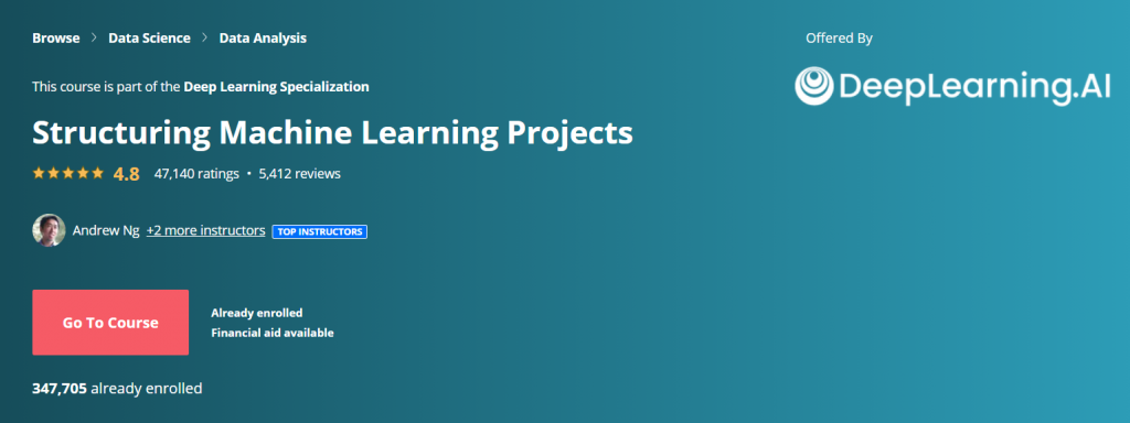 Structuring Machine Learning Projects by Andrew Ng and DeepLearning.AI