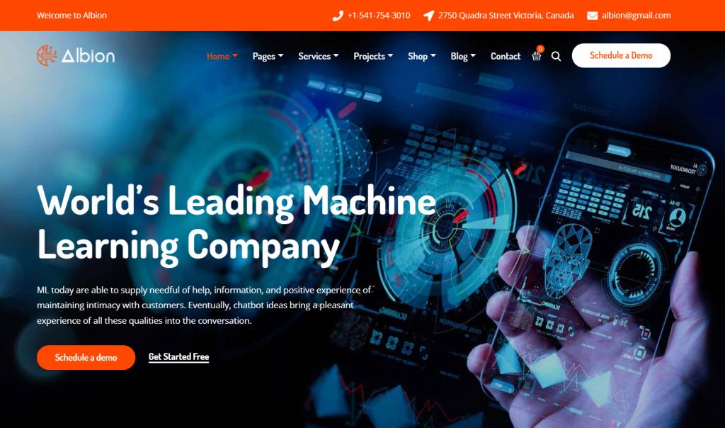 Albion - Machine Learning & AI WordPress Theme - 6 Best Artificial Intelligence (AI) WordPress Themes