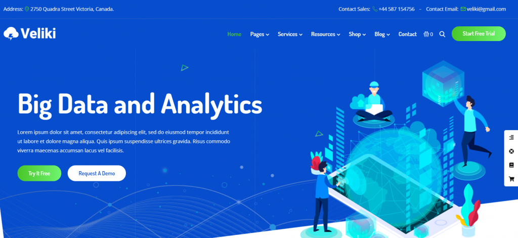 Veliki - Big Data Company WordPress Theme - 15 Best Data Science WordPress Themes