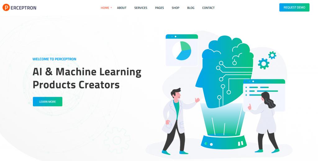 Perceptron - AI Startup WordPress Theme - 6 Best Artificial Intelligence (AI) WordPress Themes