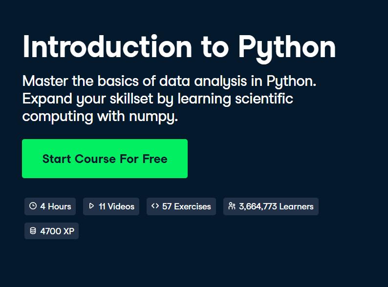 Introduction to Python Course by DataCamp - Top 15 DataCamp Python Courses