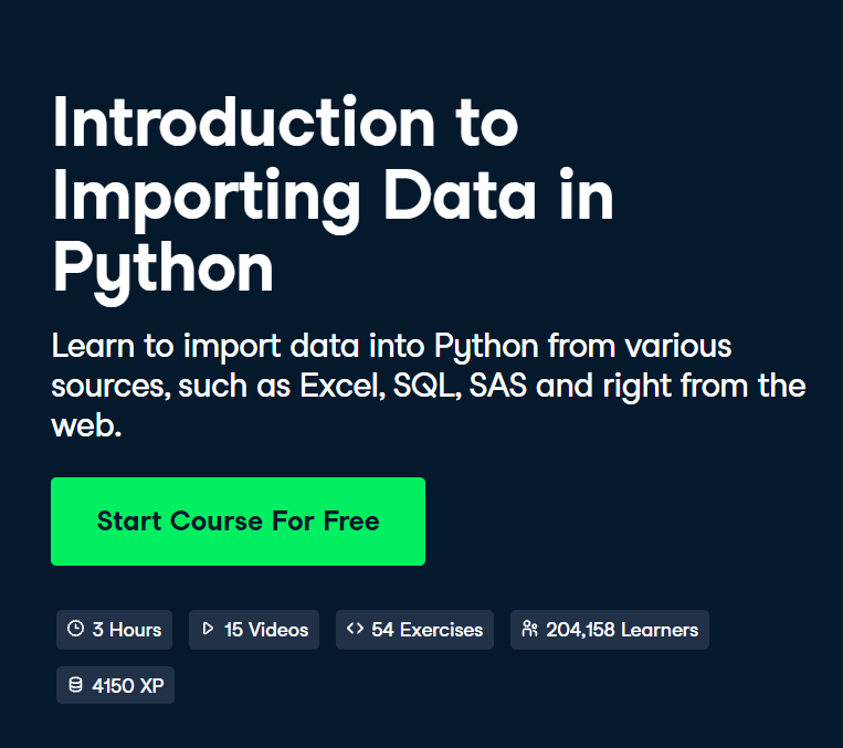 Introduction to Importing Data in Python Course by DataCamp - Top 15 DataCamp Python Courses