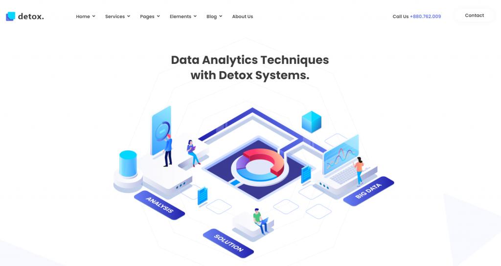 Detox - Data Science & Analytics WordPress Theme - 15 Best Data Science WordPress Themes