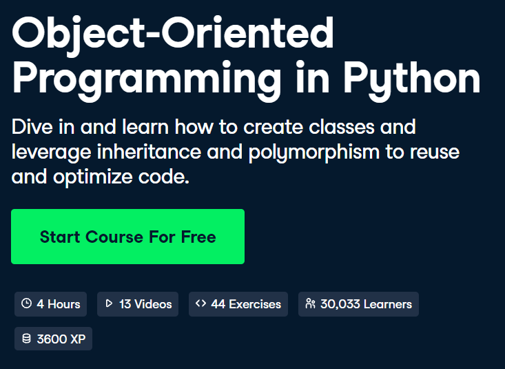 Object-Oriented Programming in Python Course by DataCamp - Top 15 DataCamp Python Courses