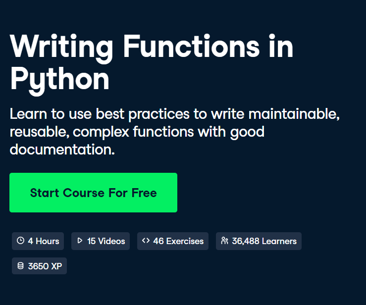 Writing Functions in Python Course by DataCamp - Top 15 DataCamp Python Courses