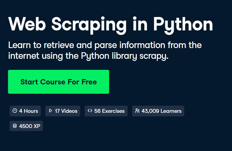 Web Scraping in Python course by DataCamp - Top 15 DataCamp Python Courses