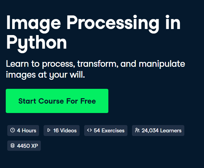 Image Processing in Python Course by DataCamp - Top 15 DataCamp Python Courses