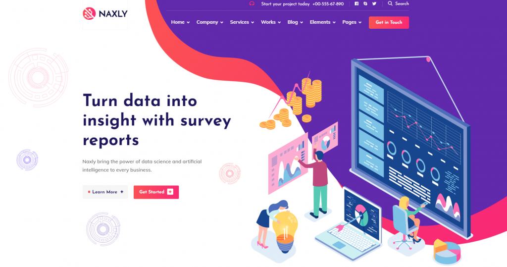 Naxly - Data Science & Analytics WordPress Theme - 15 Best Data Science WordPress Themes