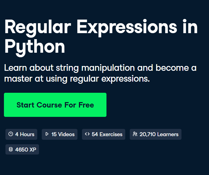 Regular Expressions in Python Course by DataCamp- Top 15 DataCamp Python Courses